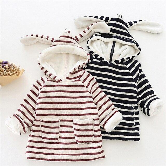 Cute Rabbit Baby Girls Toddler Back Zipper Hoodies Tops Long Sleeve T Shirt Casual Tee Hoody Thicken Pullover Coats Jackets