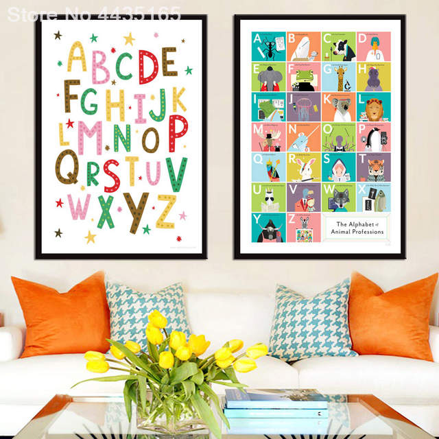 Abc Alphabet Chart Kids Education Poster Yoga Wall Art Print Canvas Painting For Kids Room Educational Decoration Home Decor