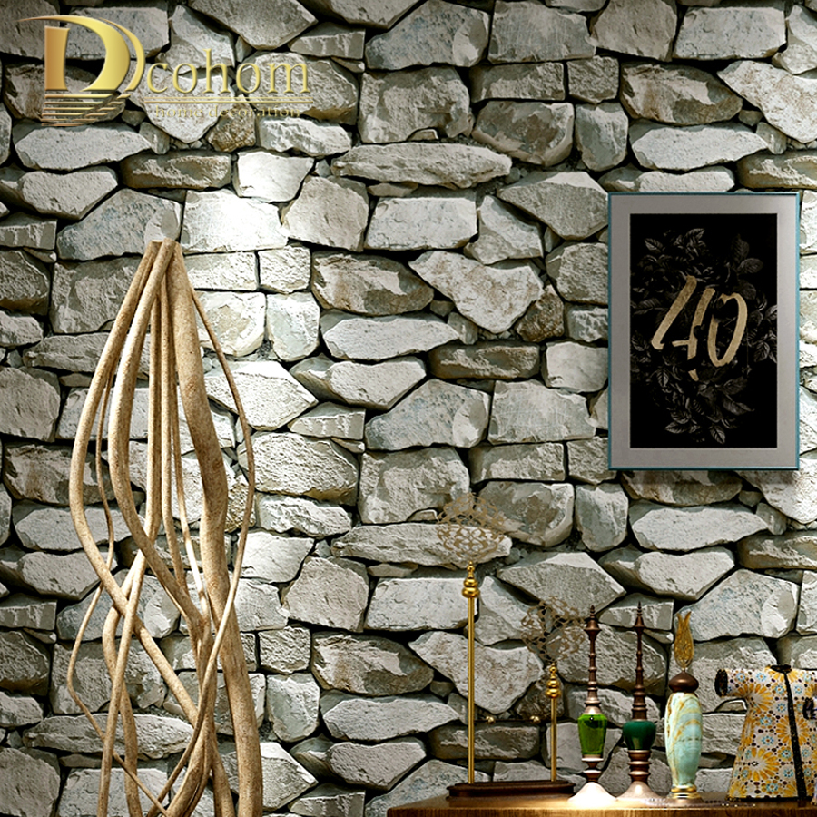Dcohom Vintage 3D Brick Stone Textured Wallpaper For Bedroom Living Room Restaurant Walls Decor Brick Wall Paper Rolls wall art vintage stone brick tapestry for bedroom