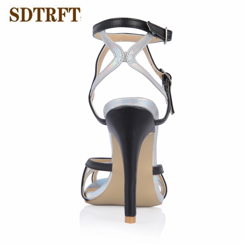 SDTRFT zapatos mujer Plus:35-43 Summer sandals 10cm thin heels Stiletto Catwalk Shows Nightclub shoes woman Ankle Strap pumps