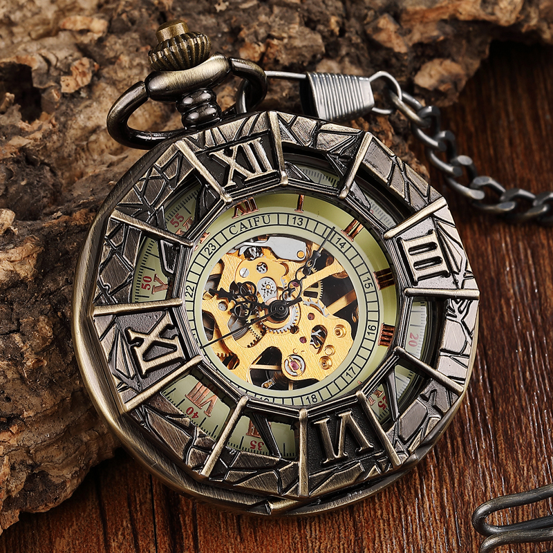 Retro Spider Man Hollow Ssteampunk Men Pocket Watch Mechanical Cool Design FOB Chain Bronze Pocket Watch Men Relojes De Bolsillo