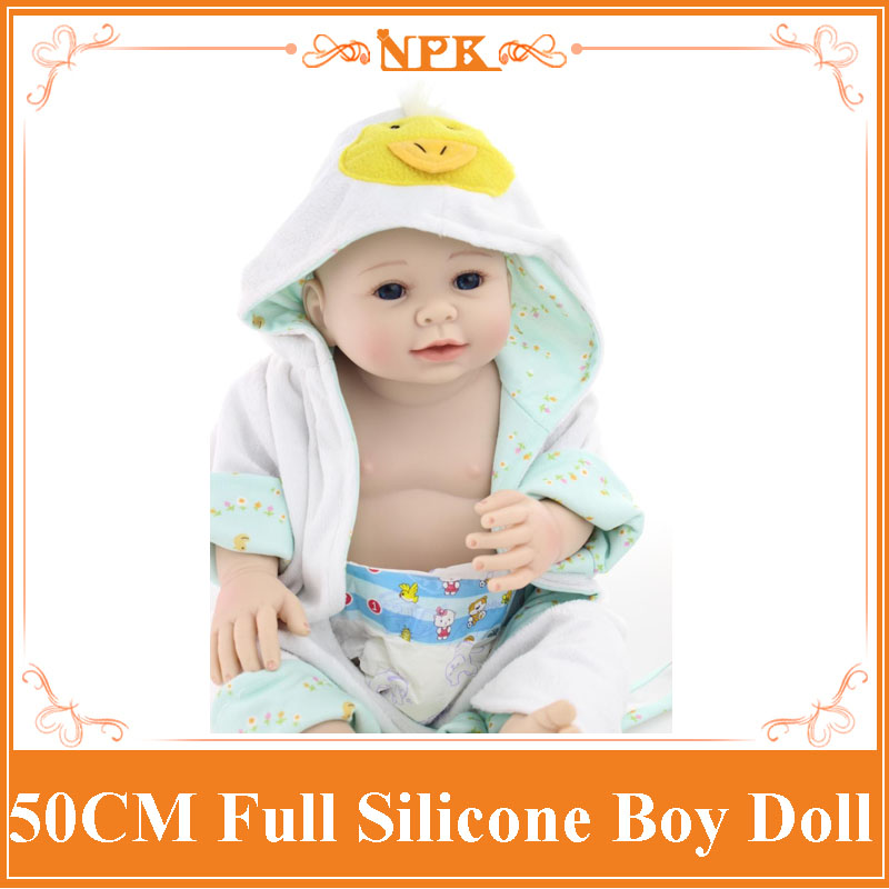 50cm Full silicone reborn baby doll toys lifelike reborn boy babies with no hair little girl brithday gifts brinquedos bathe toy комбинезоны little boy комбинезон трансформер
