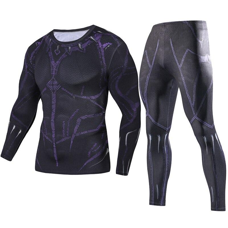 2018 Men Fitness Clothing Black Panther Set Fashion Set + Leggings Base Layer Sets 3D Print Full Compression Sets