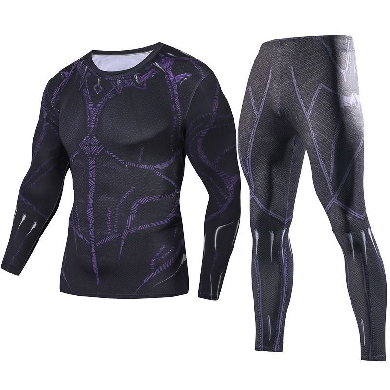 2018 Men Fitness Clothing Black Panther Set Fashion Set + Leggings Base Layer Crossfit Sets 3D Print Full Compression Sets