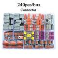 Wago tipo conector de alambre 240 unids/caja Universal compacto bloque Terminal de conector de cable para 5 habitación mixto conector rápido