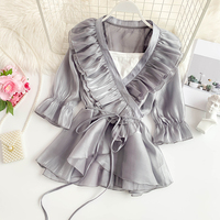 2019 new fashion women's blouse shirt Sexy double layer ruffled V neck flared waistband with a silky silk dress