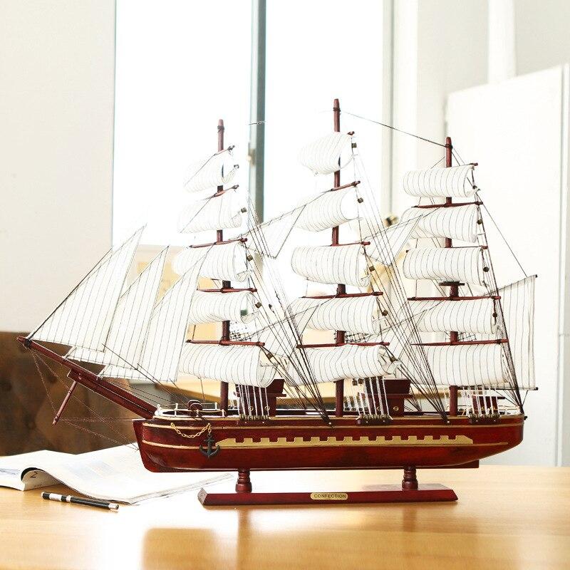 Accessoires de décoration méditerranéenne pour la maison travail manuel 80 cm Figurines de voilier en bois Miniatures artisanat de décoration de voile plaine