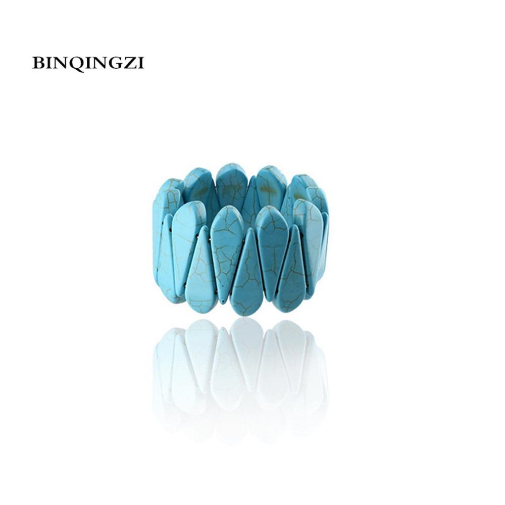 Blue Turquoises Howlite stretch Gem Stone Beads Bracelet men Elastic rope couple bracelet 2018