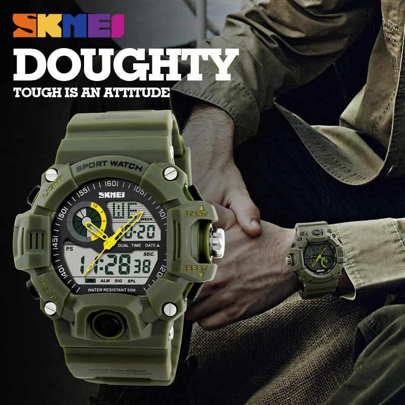 SKMEI mężczyźni zegarki na rękę podwójny zegar z wyświetlaczem zegarek sportowy do użytku na zewnątrz wodoodporny chronografu zegarek męski Top Relogio Masculino 1029