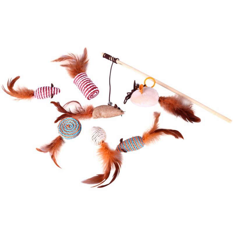 Pet Toy 7pcs Replaceable Feathers Funny Cat Toy Gift Set +1pc Funny Cat Stick Wand Cat Playing Toys Scratch Toy For Cats Kitten