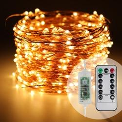 أسلاك نحاسية للتحكم عن بعد 165FT/50 متر LED أضواء خرافية بيضاء ساطعة دافئة للنجوم لعيد الميلاد ديكور حدائق الزفاف