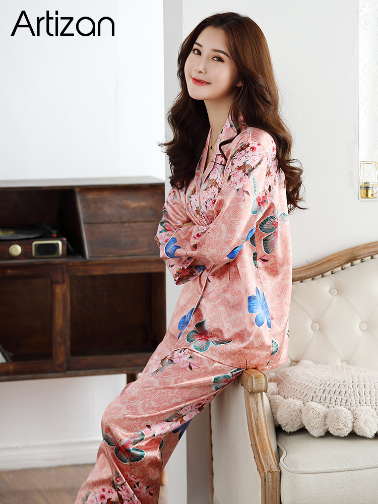 HTB104YNb2WG3KVjSZPcq6zkbXXaB - Satin Silk Pajamas for Women's Set pyjamas Button Pigiama Donna pjs Winter Mujer Pijama Sleepwear Nightwear Pizama Damska 2Pcs
