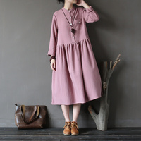 2018 Spring Dresses Loose Size A Line Solid PINK color Stand Long Sleeve Women Dresses Art Cotton Women Clothing