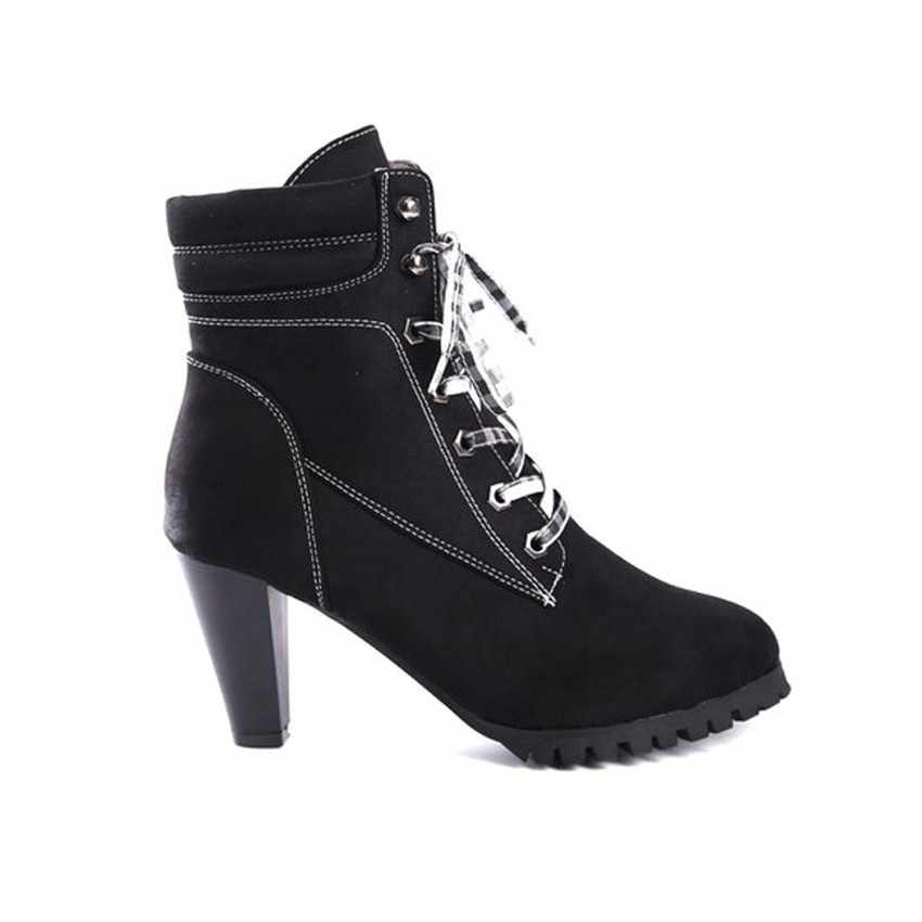 Siyah 8 CM Yüksek Topuk Platformu Çizmeler Kadın Kış Ayakkabı Kısa Kürk yarım çizmeler kadın Çizmeler Faux Süet Deri Bayan ayakkabı Kadın