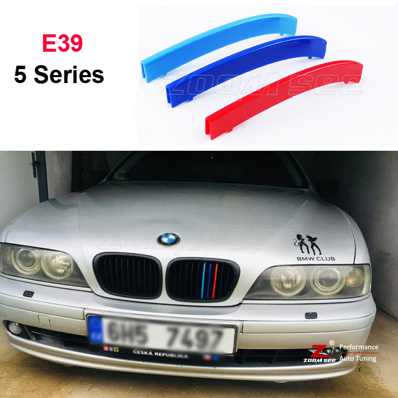 3D M color ABS Front Grille Trim Sport Strips grill Cover Stickers For 1995 to 2003 BMW 5 series E39 520 535 525 528 530 abs chrome front grille around trim for ford s max smax 2007 2010 2011 2012