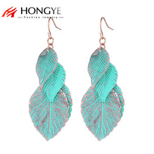 2017 Newest Design Rose Gold Color Blue Leaf Earrings For Woman Bohemian Multi Layer Long Earings