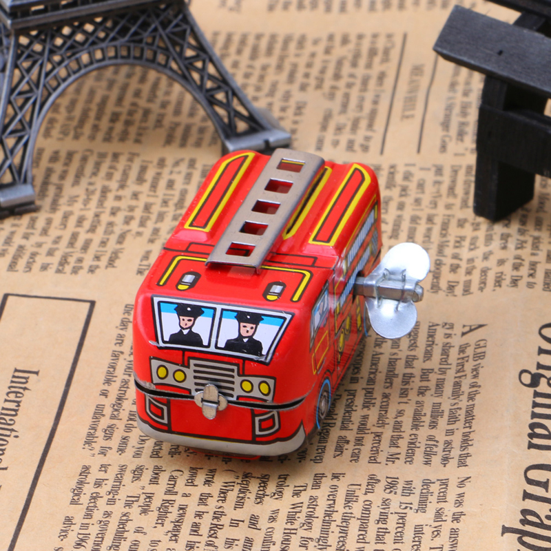 Toy Clockwork-Toys Wind-Up-Toys Firefighter Classic Vintage Kids Car Model Truck Children