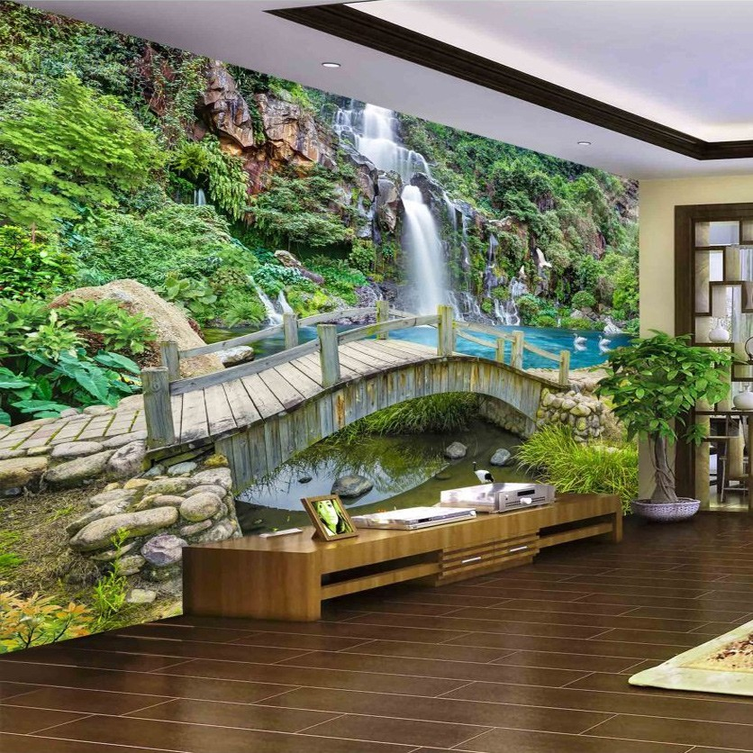 Custom-Any-Size-3D-Mural-Wallpaper-Small-Bridge-Running-Water-Waterfall-Nature-Landscape-Photo-Background-Wall