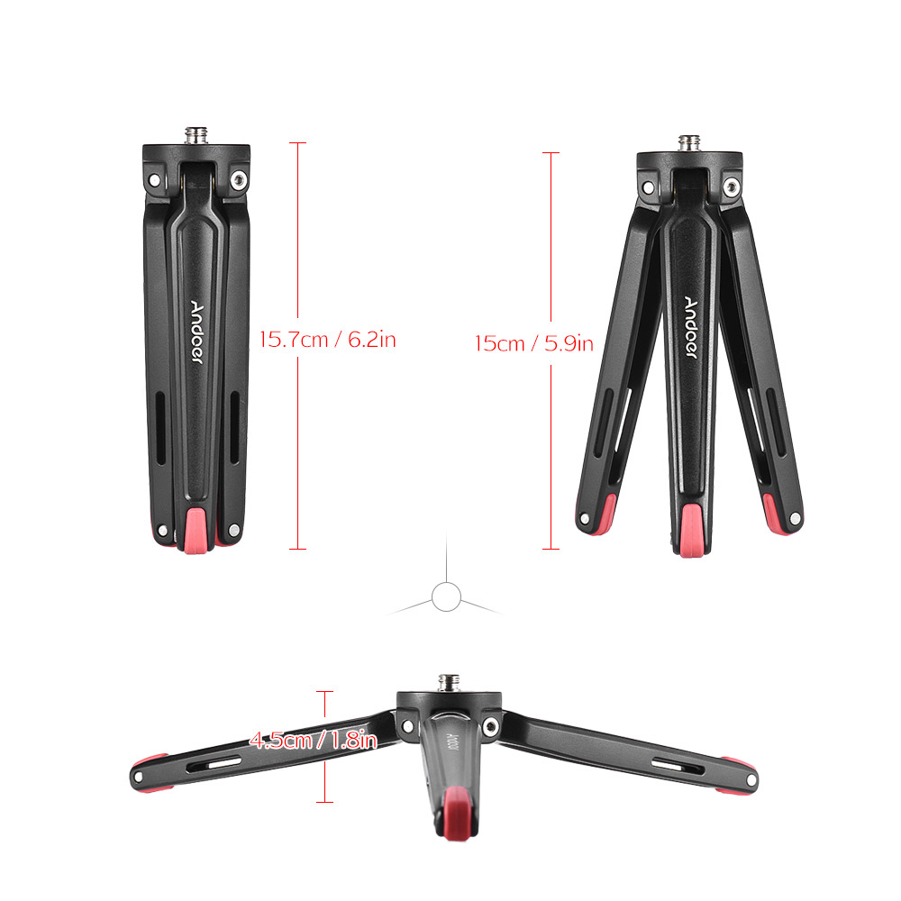 Andoer Mini Aluminum Tripod Handheld Travel Desktop Tripod Camera Stand Holder for Canon Nikon Sony DSLR Action Sports Camera