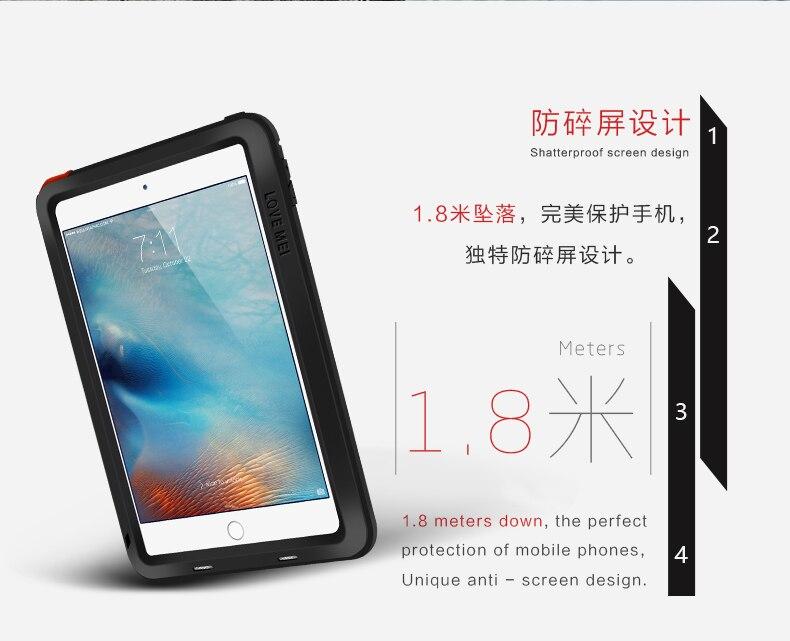 Amor Mei potente a prueba de golpes a prueba de aluminio de la cubierta del caso para Apple iPad aire/aire 2/Mini/2/3/4/5/6/CaseHeavy w/gorila Vidrio Templado - 2