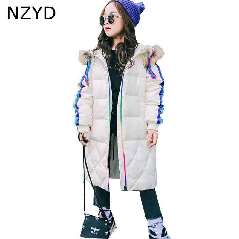 New Fashion Winter Cotton Girls Coat Korean 2017 Children Thicken Hooded Jacket Coat Casual Warm Kids Clothes 6-14Y DC662