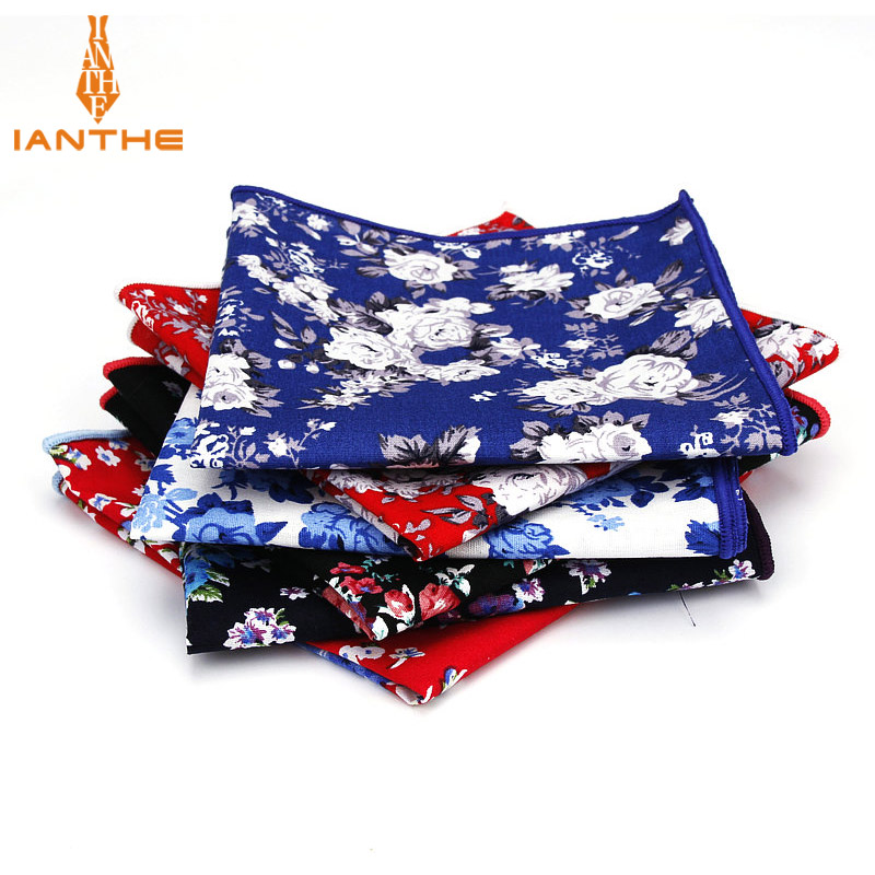 2018 Brand New Style Hankerchief Scarves Vintage Cotton Hankies Men's Pocket Square Handkerchiefs Navy Flower Floral Print Hanky
