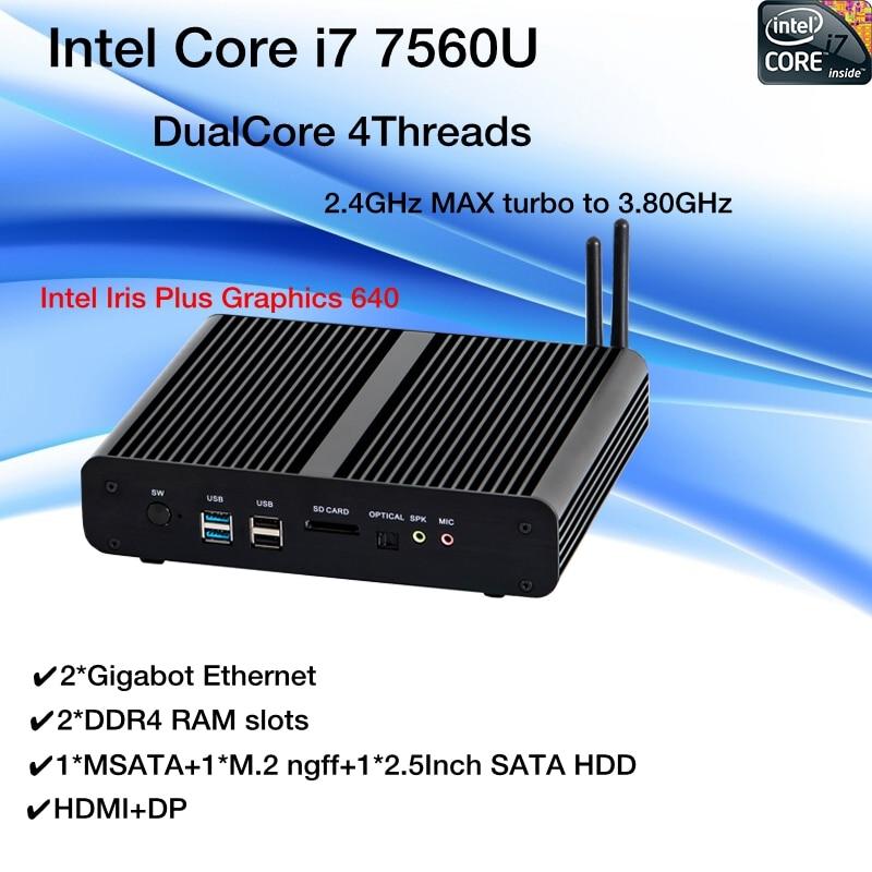 Nova KabyLake Intel Core i7 7560U/7660U 3.8 GHz Fanless Mini PC porta Óptica 2 * lan Intel Íris além de Gráficos 640 DDR4 Barebone PC