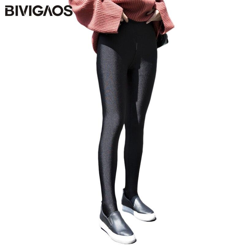 BIVIGAOS Autumn Winter New Warm Gloss Foot Pants   Leggings   Velvet Thick Korean Casual   Legging   Femme Slim Sexy   Leggings   For Women