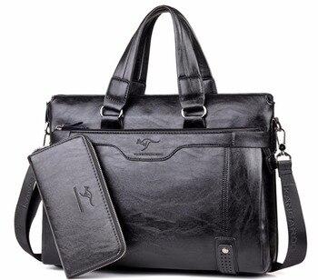 """Men Business Leather Briefcase Shoulder Messenger Bag for 14"""" Laptop Men's Crossbody Briefcase Bags man Handbag Messenger bags"""