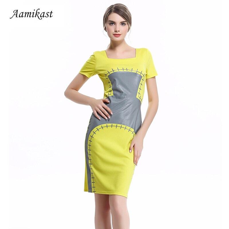9c42171edfb74 Aamikast Baskı Elbiseler Sıcak Satış 2018 Yaz Sonbahar Kare Yaka Kalem  Parti Akşam İş Bodycon Kadın Elbiseler
