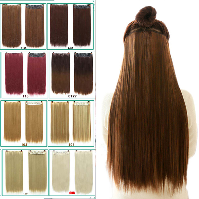 Allaosify Hair 22 inches (55 cm) long straight hair female hair clip extension black brown high temperature synthetic wig