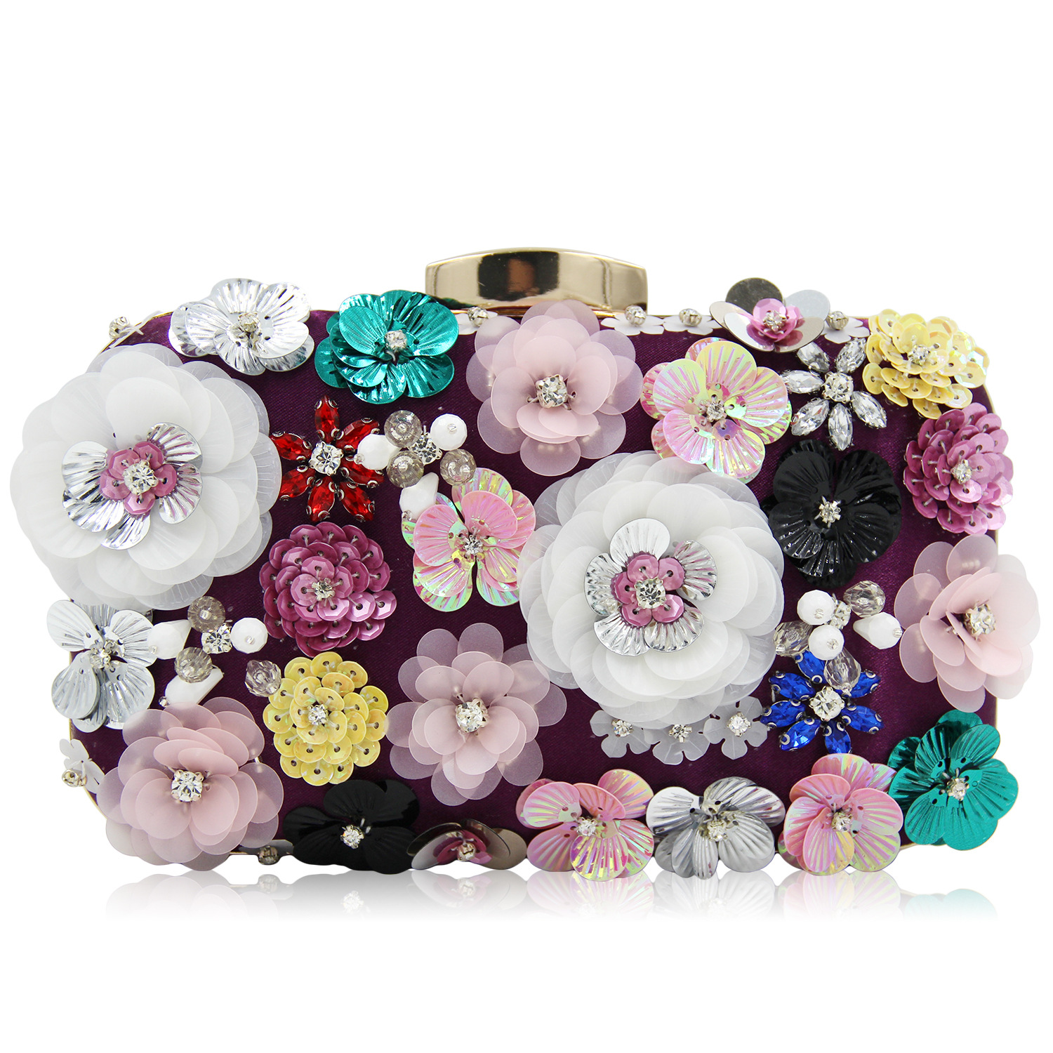 Women Clutch Bag Flowers Glassbeads Embroidery Party Day Clutches Purses Pearl Ladies Clutch Evening Bags Chain Shoulder Bags luxury crystal clutch handbag women evening bag wedding party purses banquet