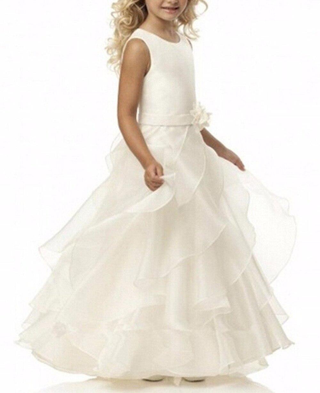 2019   Flower     Girl     Dresses   White/Ivory Holy First Communion   Dress   Little   Girls   Kids/Children   Dress   for Wedding