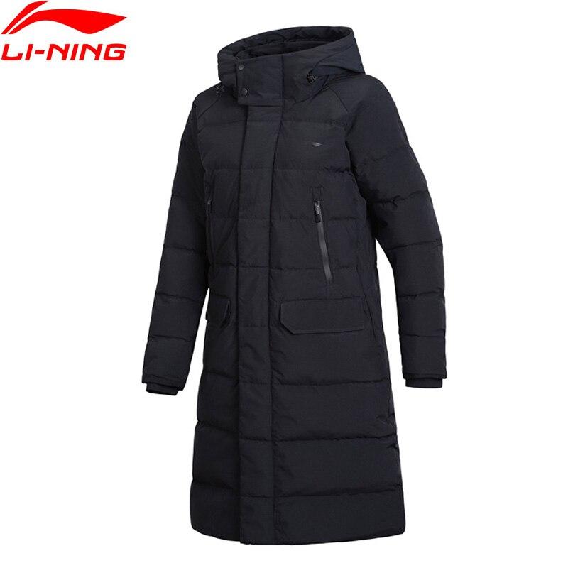 (Liquidación) li-ning serie de entrenamiento Unisex abrigo de plumón largo 70% plumón de pato gris forro de ajuste suelto chaqueta deportiva AYMN094 mmy315