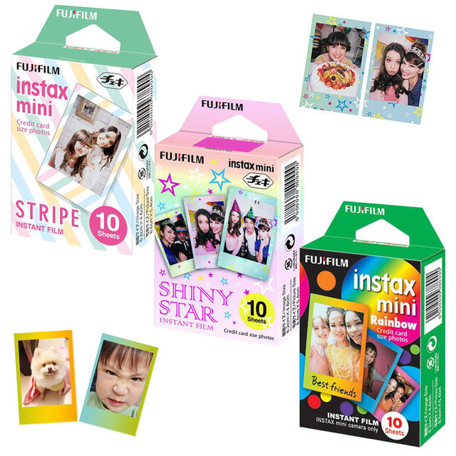 For Fujifilm Instax Mini 8 9 Camera Film Sheets Pack   30 Exposures Instant Mini Photos    Rainbow , Shiny Star , Stripe Frame
