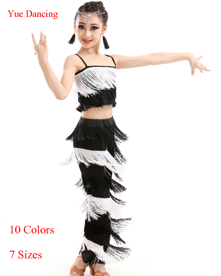 Fringe Latin Top & Pants Kids Salsa Dance Costume Ballroom Dancing Clothes For Girls School Stage Show Cheap Performance Outfits