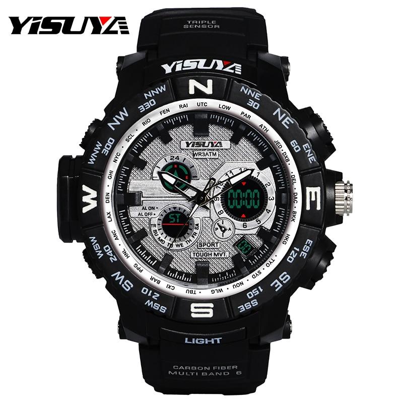<+>  YISUYA Прохладный Мужские Часы Будильник Япония Движение Хронограф Наручные Кварцевые Часы 3ATM Водо ★