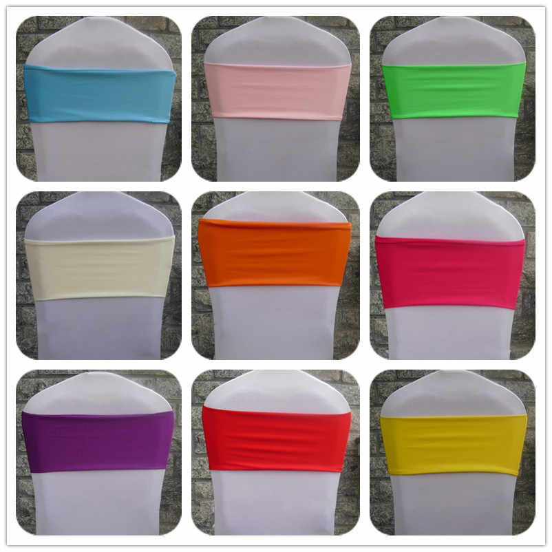 100pcs Elastic Chair Bow Ties Stretch Lycra Spandex Chair Cover Sash Bands Without Buckle For Hotel Banquet Wedding Decoration