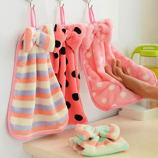 2016 new Towel Coral Velvet Bow Hanging Hand Towels Strong Suction Dropping The Kitchen Towel bathroom hand towels