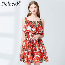 Delocah Spring Summer Women Dress Runway Fashion Designer Sexy Spaghetti Strap Flower Printed Elegant Slim 100% Cotton Dresses