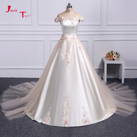 Jark Tozr 100% Real Picture Beading Crystal Colorful Appliques Flowers Light Champagne Satin Wedding Dress 2018 Robe De Mariage