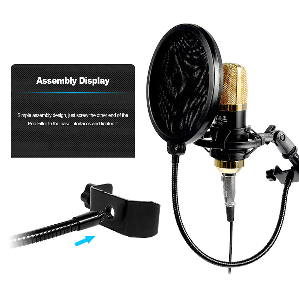 microphone wind screen pop filter round shape mic wind mask double layer cloth with metal stand. Black Bedroom Furniture Sets. Home Design Ideas