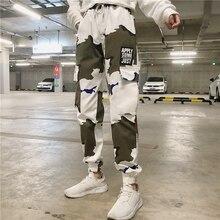 HOUZHOU Camo Pants Camouflage Print Hip Hop Spring Autumn Streetwear Harem High Waist Trousers Jogger Mujer Drawstring Harajuku slogan print drawstring waist pants