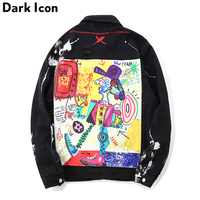 DARK ICON Graffiti Appliques Hip Hop Jean Jacket Men 2019 Art Gone Mad Turn Down Collar Denim Jackets Men Streetwear Clothes