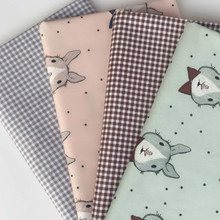 Rabbit Printed Cotton Twill Fabric by half meter for DIY Sewing Bed Sheet Dress making cotton fabric
