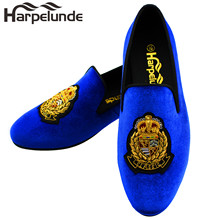 Harpelunde Blue Velvet Loafers Classic Bullion Mens Shoes Large Sizes