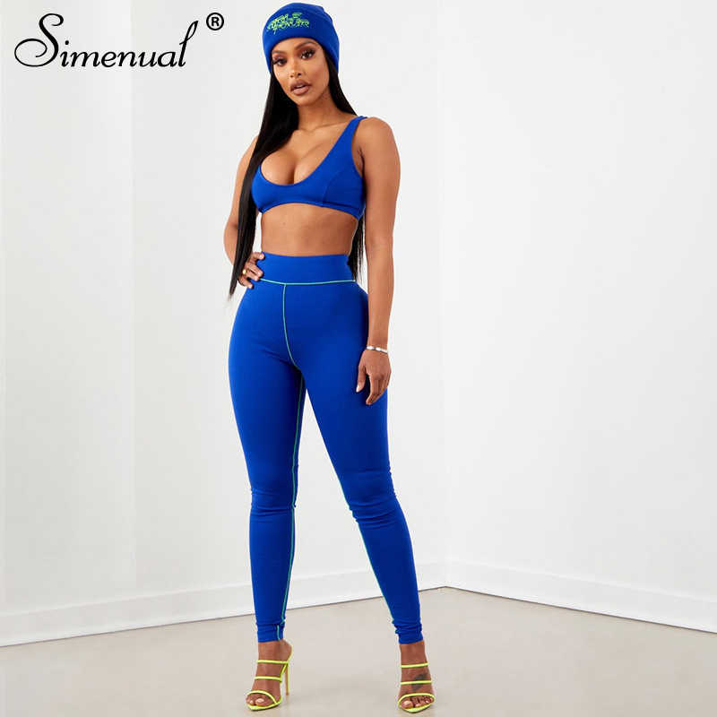 Simenual Casual Sporty Active Wear Women Tracksuits Fitness Workout Neon Striped Two Piece Sets 2019 Tank Top And Leggings Set