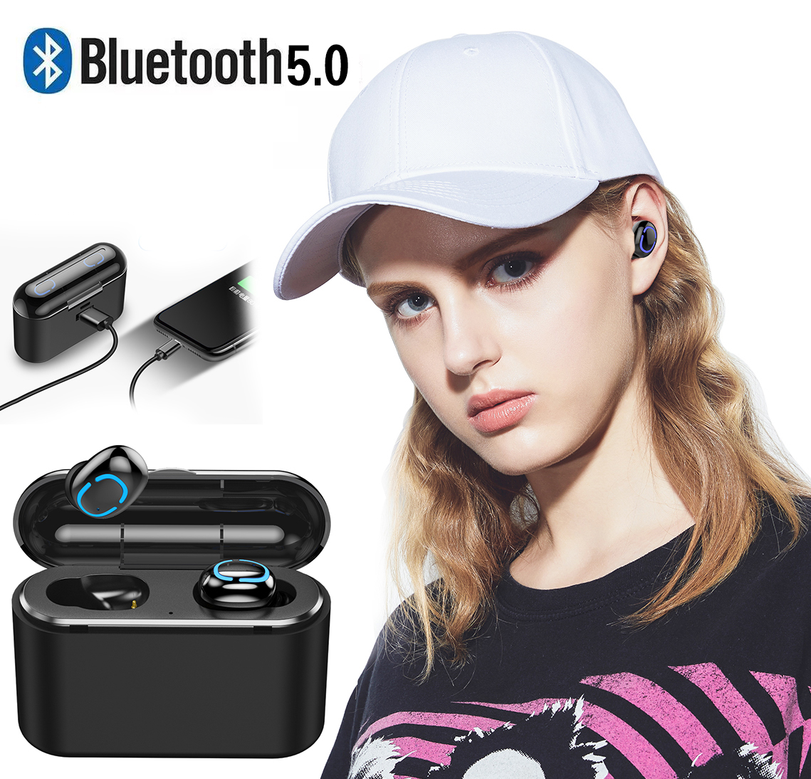 Q32 TWS Bluetooth Earphone 5.0 Handsfree Wireless Headphone Sport Earbuds 3D Stereo Waterproof Rechargeable Lossless Headset