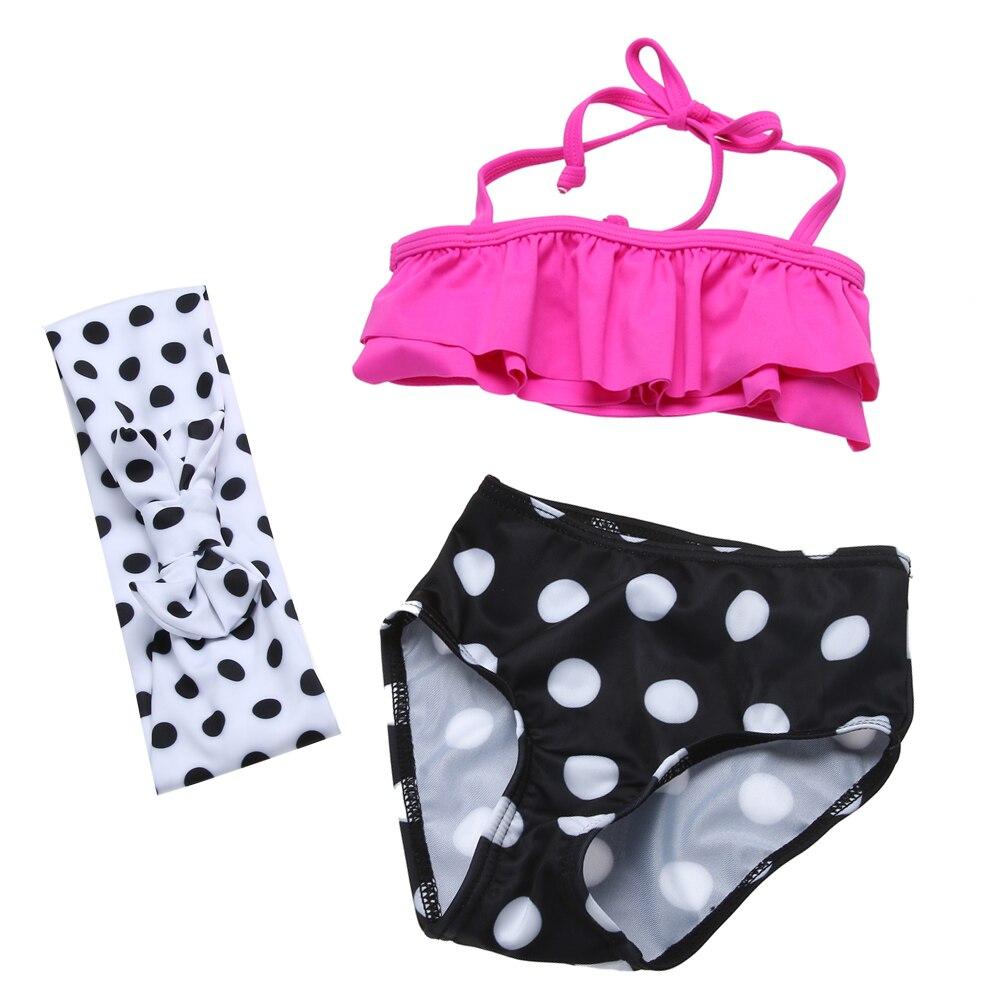 3pcs Kids Children Girls Clothing Set Swimwear Summer Bathing Swimming Suit Outfit Set Print Polka Dot Summer Beach Suit Set