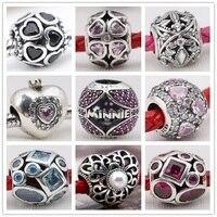 Silver Charm Minnie Hearts Charms Big CZ European replica sterling-silver jewelry DIY pandora beads Fit Bracelets & Bangle